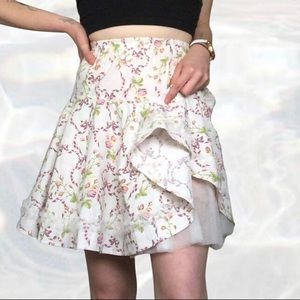 Vintage floral fit and flare tulle skirt